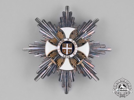 Order of the Star of Karageorg, Military Division, I Class Breast Star Obverse
