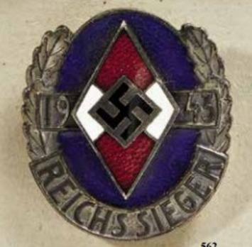 HJ Championship Badge, in Silver (Reichssieger 1943) Obverse