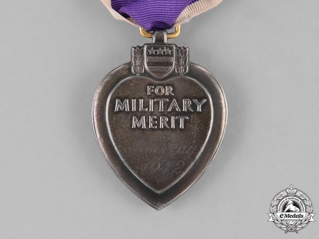 Purple Heart (in silver, privately engraved) Reverse