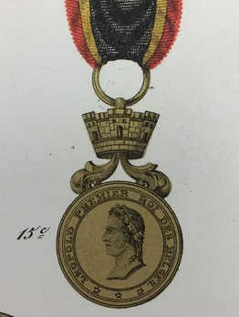 Medal for Courage, Devotion, and Humanity, in Gold (with mural crown, 1849-1865)
