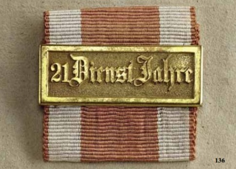 Military Long Service Bar, Type II, I Class for 21 Years
