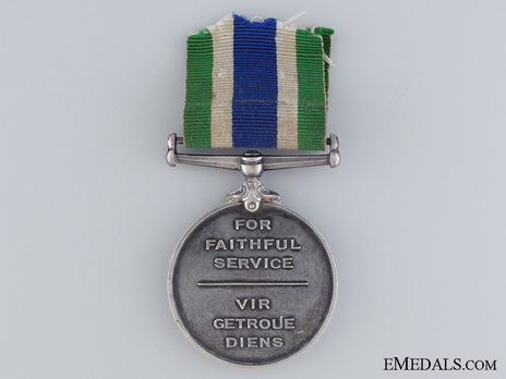 South African Police Medal for Faithful Service (Named) Reverse