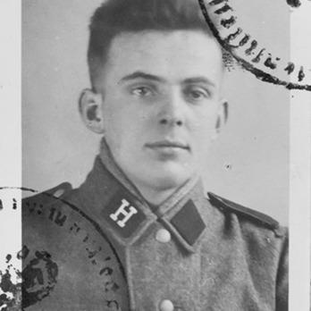 Bela Pup wears the Waffen-SS 'Hunyadi' Division Collar Tab