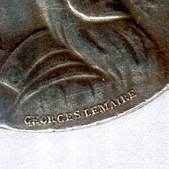 """Silver Medal (intermediate version, with """"MAROC"""" clasp, stamped """"GEORGES LEMAIRE,"""" 1913) Obverse Detail"""