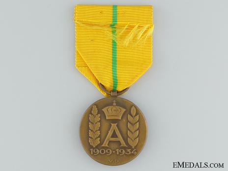 "Commemorative Medal for the Reign of King Albert I (stamped ""V.D."") Reverse"