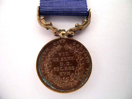 """Bronze Medal (for """"unsuccessful"""" rescues, 1837-1867) Reverse"""