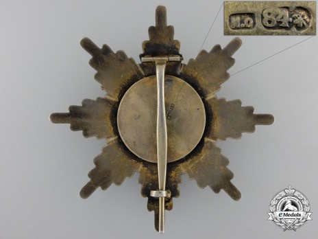 Order of St. Alexander, Type I, II Class Grand Cross Breast Star Reverse
