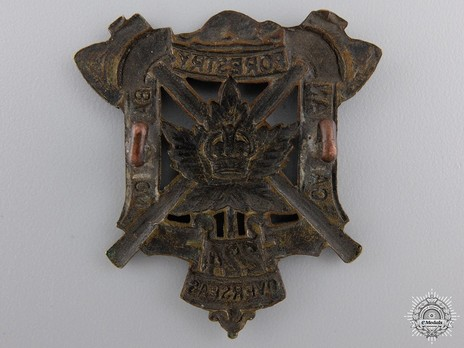 224th Forestry Battalion Other Ranks Cap Badge (Small Central Crown) Reverse