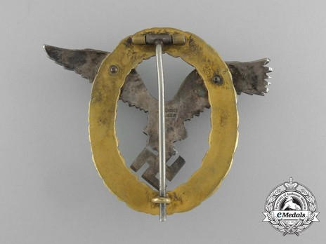 Combined Pilot/Observer Badge (2nd Model) (in tombac) Reverse