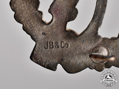Infantry Assault Badge, by J. Bauer (in silver) Detail