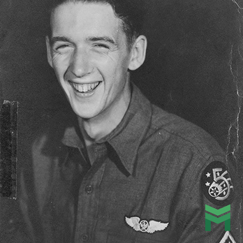 Sergeant William E Kelley Jr. wearing a basic Aircrew badge