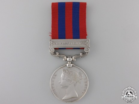 """Silver Medal (with """"N.E.FRONTIER 1891"""" clasp) Obverse"""