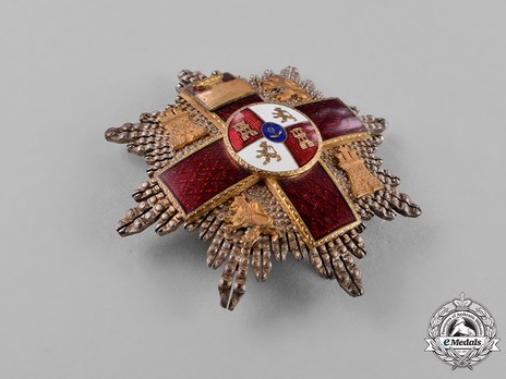 2nd Class Breast Star (red distincion) (with coat of arms of Castile and Leon, and Imperial Crown) (Silver and Silver gilt) Reverse