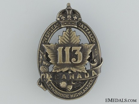 113th Infantry Battalion Other Ranks113th Infantry Battalion  Cap Badge Obverse