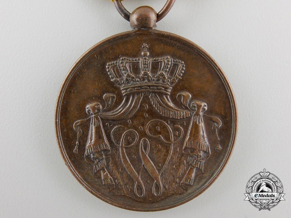 Bronze medal for 12 years 1851 1928 obverse