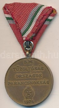 Volunteer Firefighter Service Medal, III Class (for 30 years 1958-1974) Reverse
