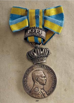 "Duke Ernst Medal, Type II, Civil Division, in Silver (with crown & ""1914"" clasp)"
