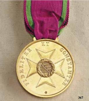 """Saxe-Meiningen House Order Medals of Merit, Type II, in Gold (stamped """"HELFRICHT F."""" 1864-1867)"""