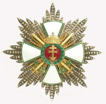 Hungarian Order of Merit, Grand Cross Breast Star, Military Division (with War Decoration and Holy Crown) Obverse