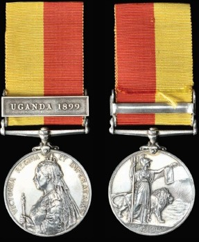 """East and Central Africa Medal, in Silver (with """"UGANDA 1899"""" clasp)"""