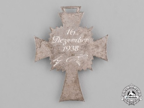 Cross of Honour of the German Mother, in Silver Reverse