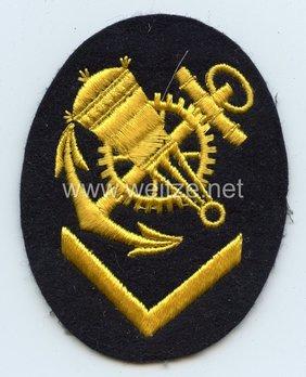 Kriegsmarine Obermaat Blocking Weapons Mechanic Insignia (embroidered) Obverse
