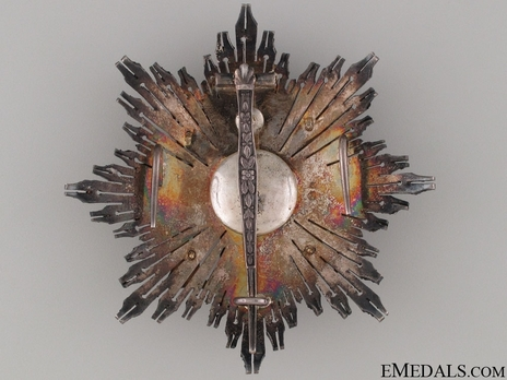 2nd Class Breast Star (white distinction pension) (with coat of arms of Castile and Leon, and Imperial Crown) (Silver gilt) Reverse