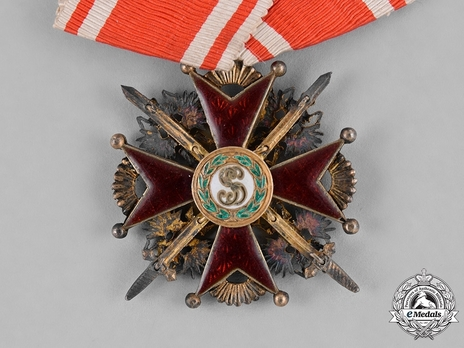 Order of Saint Stanislaus, Type II, Military Division, III Class Badge (provisional government, with swords) Reverse