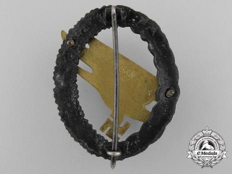 Luftwaffe Paratrooper Badge, by Berg & Nolte (in brass & zinc) Reverse