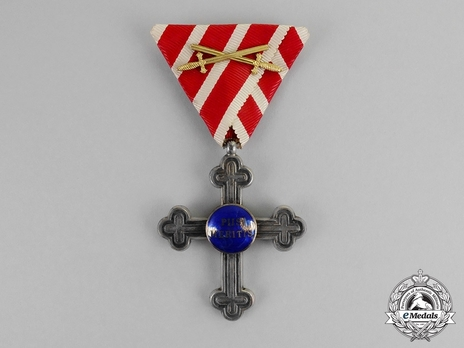 """Merit Cross """"Piis Meritis"""" for Military Chaplains, Type III, Military Division, II Class (for wartime with blue enamel & swords)"""