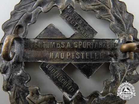 SA Sports Badge, Type II, in Bronze Reverse Detail