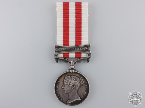 """Silver Medal (with """"DEFENCE OF LUCKNOW"""" clasp) Obverse"""
