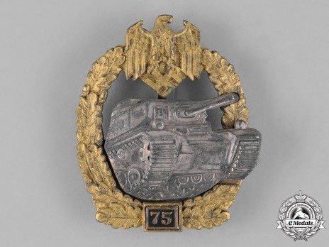 "Panzer Assault Badge, ""75"", in Silver (by Juncker) Obverse"
