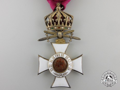 Order of St. Alexander, Type II, IV Class Officer (with crown and swords on ring) Obverse
