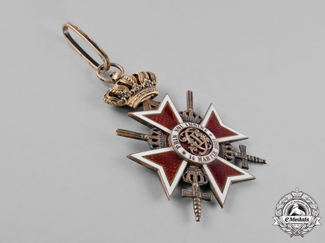 Order of the Romanian Crown, Type II, Military Division, Commander's Cross Obverse