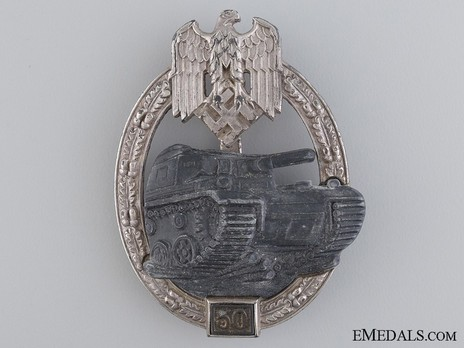 """Panzer Assault Badge, """"50"""", in Silver (by J. Feix) Obverse"""
