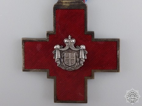 Serbian Red Cross Society Decoration, Type I, in Silver Obverse