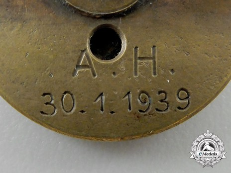 NSDAP Golden Party Badge, with Date of Issue (small) Reverse Detail