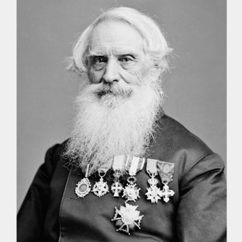 Samuel Morse was an American painter and contributor to the invention of the telegraph. He was a co-developer of Morse code and assisted in commercializing telegraphy. Morse was born in Charlestown on April 27, 1791 to Jedidiah and Elizabeth Morse. Morse studied at Yale College and began to paint to support himself. He graduated with honours in 1810 and in 1811 Morse began a three year study of Renaissance art at the Royal Academy in England. He returned to the USA in 1815 to begin his career as a full-time painter. 1815 to 1825 marked an important turning point in Morse's work. He sought to capture the essence of American culture and life within his art and painted portraits of prominent Americans. Morse married twice and had 7 children. In 1832, Morse developed the concept of a single-wire telegraph and by 1845 telegraphs would be used in places like New York and Boston. He received a patent for the telegraph in 1847 and the use of telegraphs expanded to places like Istanbul, Puerto Rico and Europe. Morse held decorations from Tunisia, Prussia, France, Italy, Portugal, Denmark, Austria, Württemberg and Spain. He died on April 2, 1872.