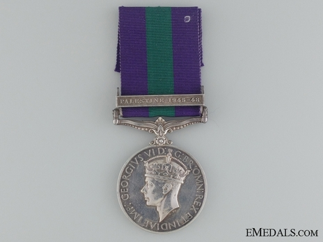 """Silver Medal (with""""PALESTINE 1945-48"""" clasp) (1937-1949) Obverse"""