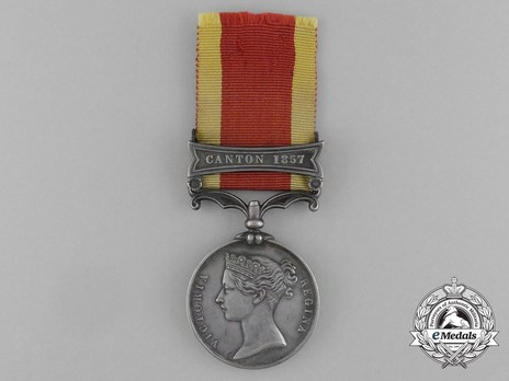 """Silver Medal (with """"CANTON 1857"""" clasp) Obverse"""