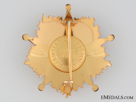 Order of the Star of Italian Solidarity, Type I, I Class (in bronze gilt) Reverse