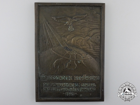 Honour Plaque of Air District Staff Finland (1943) Obverse