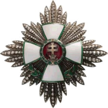 Hungarian Order of Merit, Grand Officer Breast Star, Military Decoration (with War Decoration) Obverse