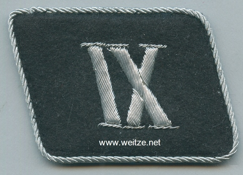 Allgemeine SS 9th Sub-District Staff Unit Collar Tab Obverse