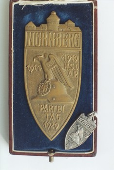 Nuremberg Party Rally Plaque, in Bronze Obverse with Miniature