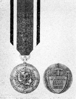 Medal for Merit in the Defence of the Borders of the Polish People's Republic, III Class Obverse and Reverse