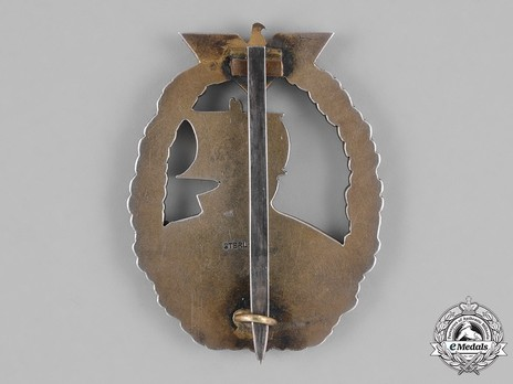 Naval Auxiliary Cruiser War Badge, by Unknown Maker: Japanese Design (in silver) Reverse
