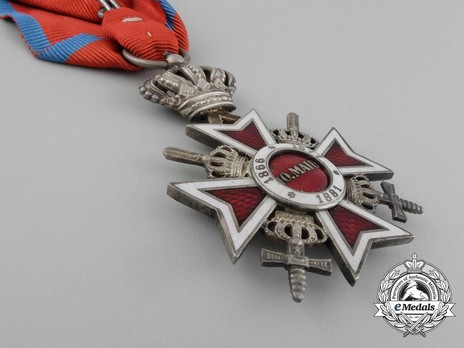 Order of the Romanian Crown, Type II, Military Division, Knight's Cross Reverse