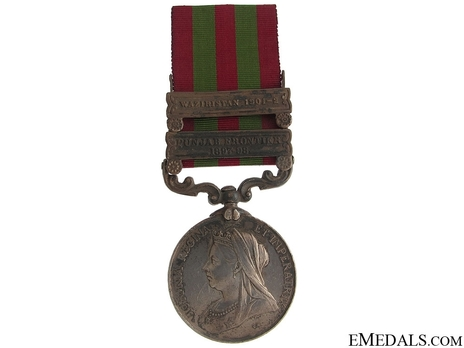 """Silver Medal (with """"PUNJAB FRONTIER 1897-98"""" and """"WAZIRISTAN 1901-02"""" clasp) (1896-1901) Obverse"""